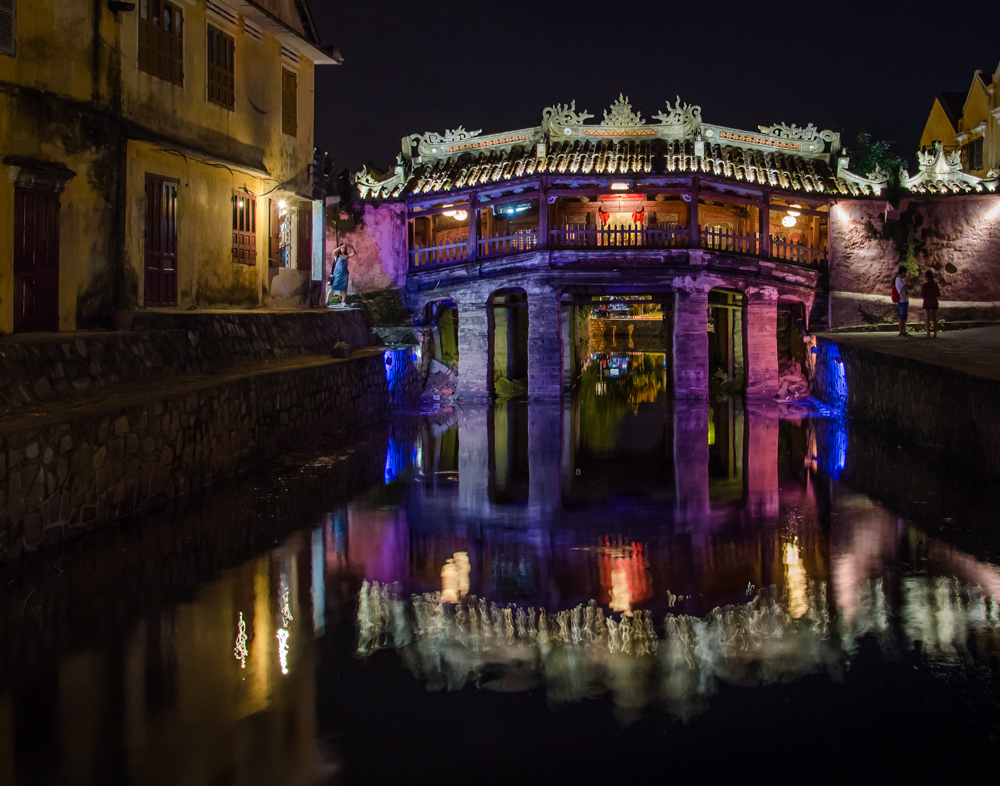 Night at the Japanese Bridge in Hoi An Vietnam - Color Print - Cindy Carlsson