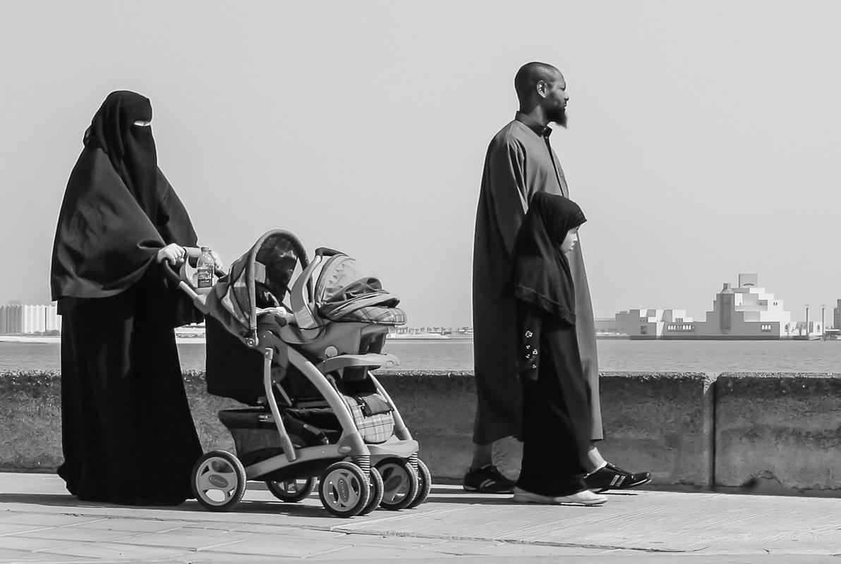 Old and New in Qatar - Monochrome Print - Bob Muschewske