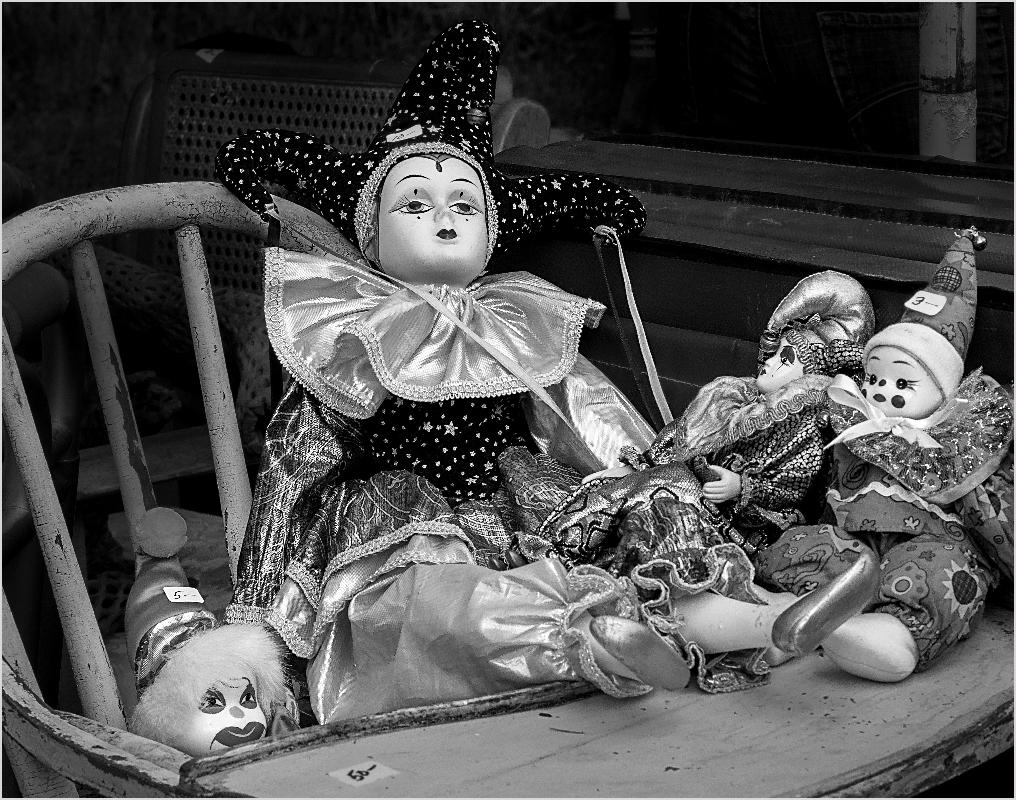 Dolls In High Chair - Monochrome Print - Peggy Boike