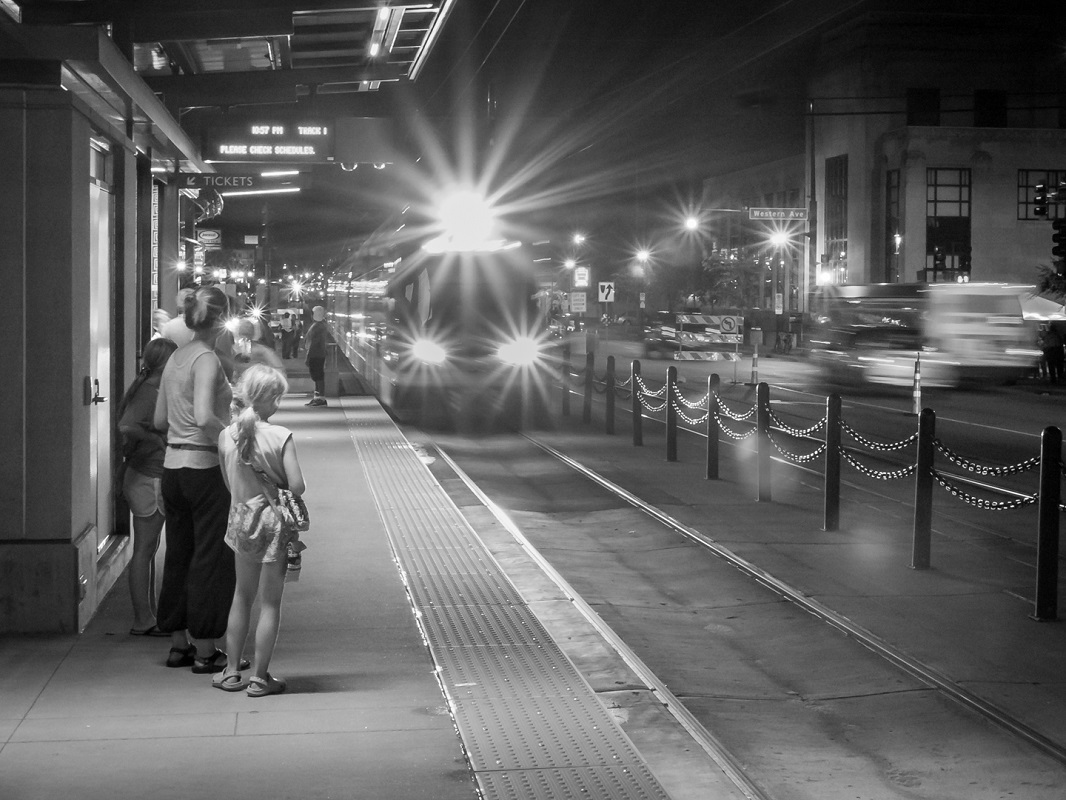 Green Line at Night - Monochrome Print - Rick Riddle