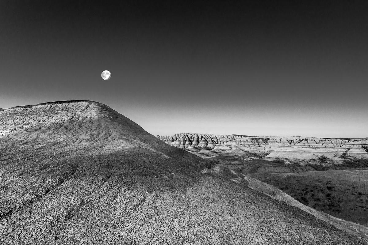 Moonset Badlands South Dakota - Monochrome Print - Name Withheld Per Request