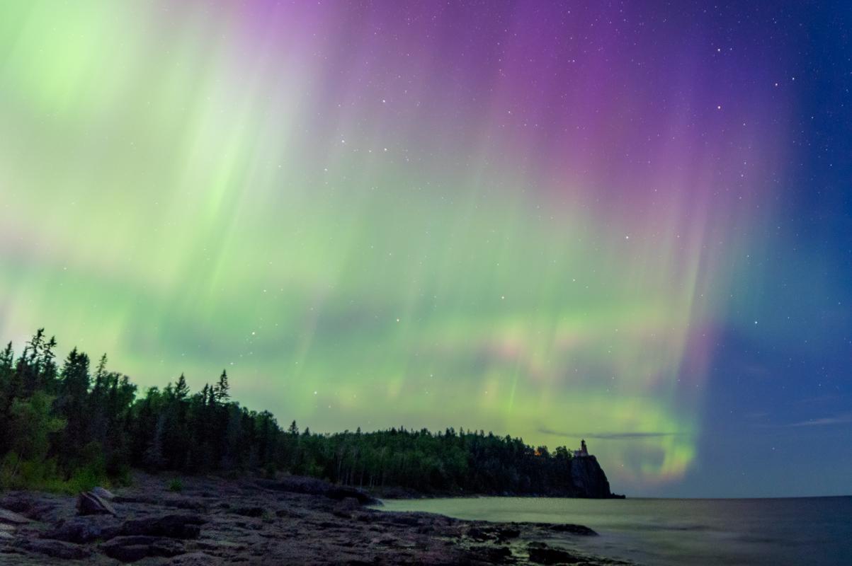 Aurora Over Split Rock - Color Print - Steve Simmer