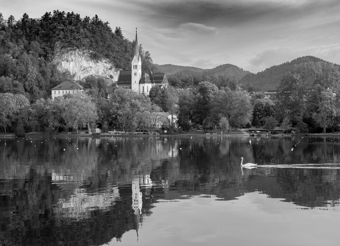 Lake Bled Slovenia - Monochrome Print - Bob Muschewske