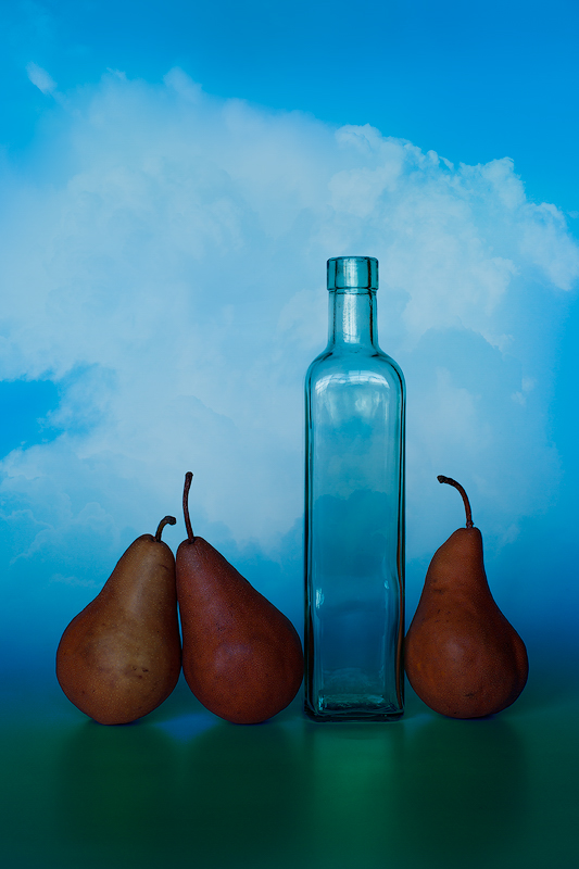 Three Pears and a Bottle - Color Print - Name Withheld Per Request