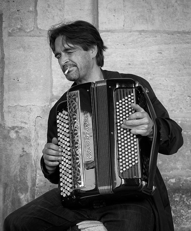 Paris Street Musician - Digital(Monochrome) - Name Withheld Per Request