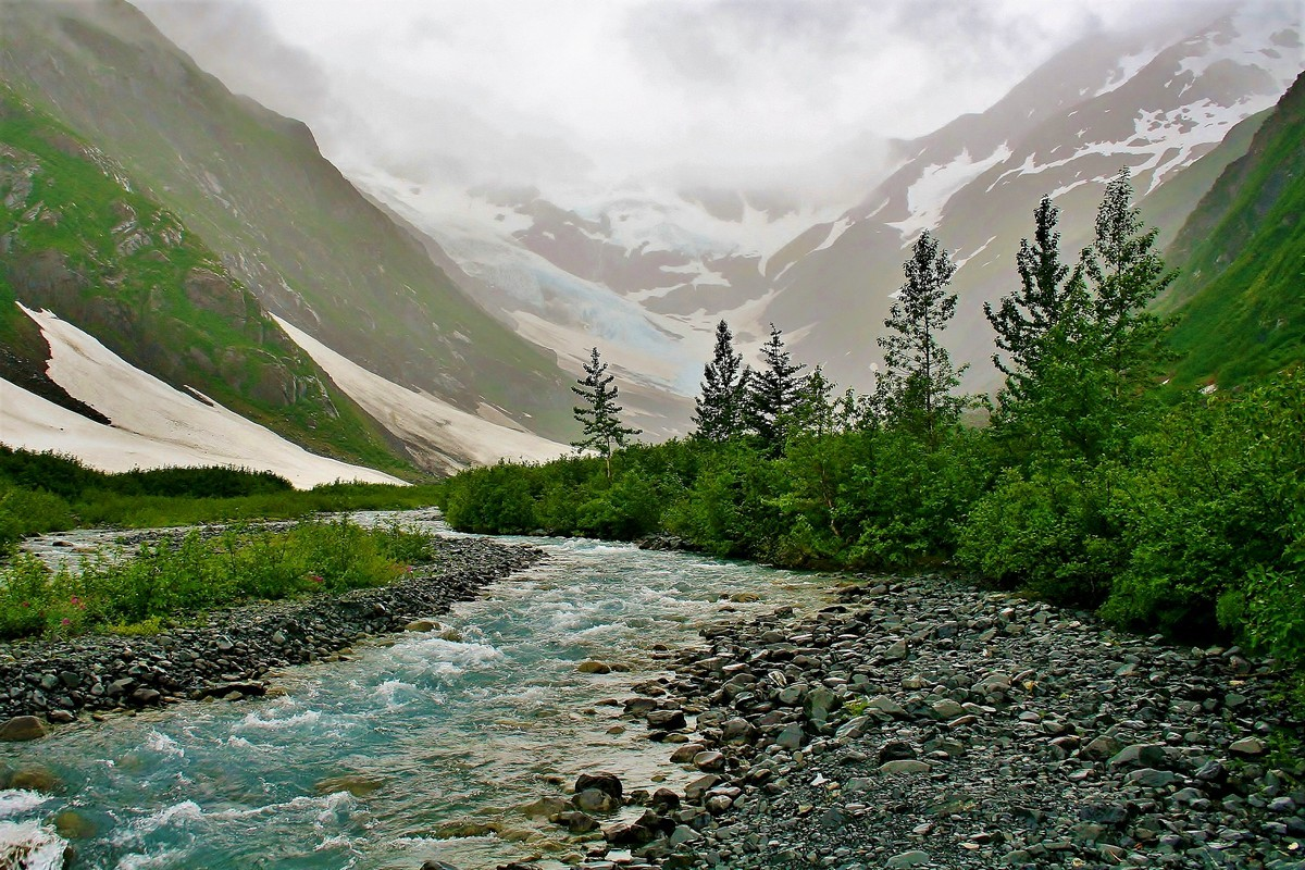 Foggy Rainy Glacial Runoff at Portage Glacier - Digital (Phototravel) - Name Withheld Per Request