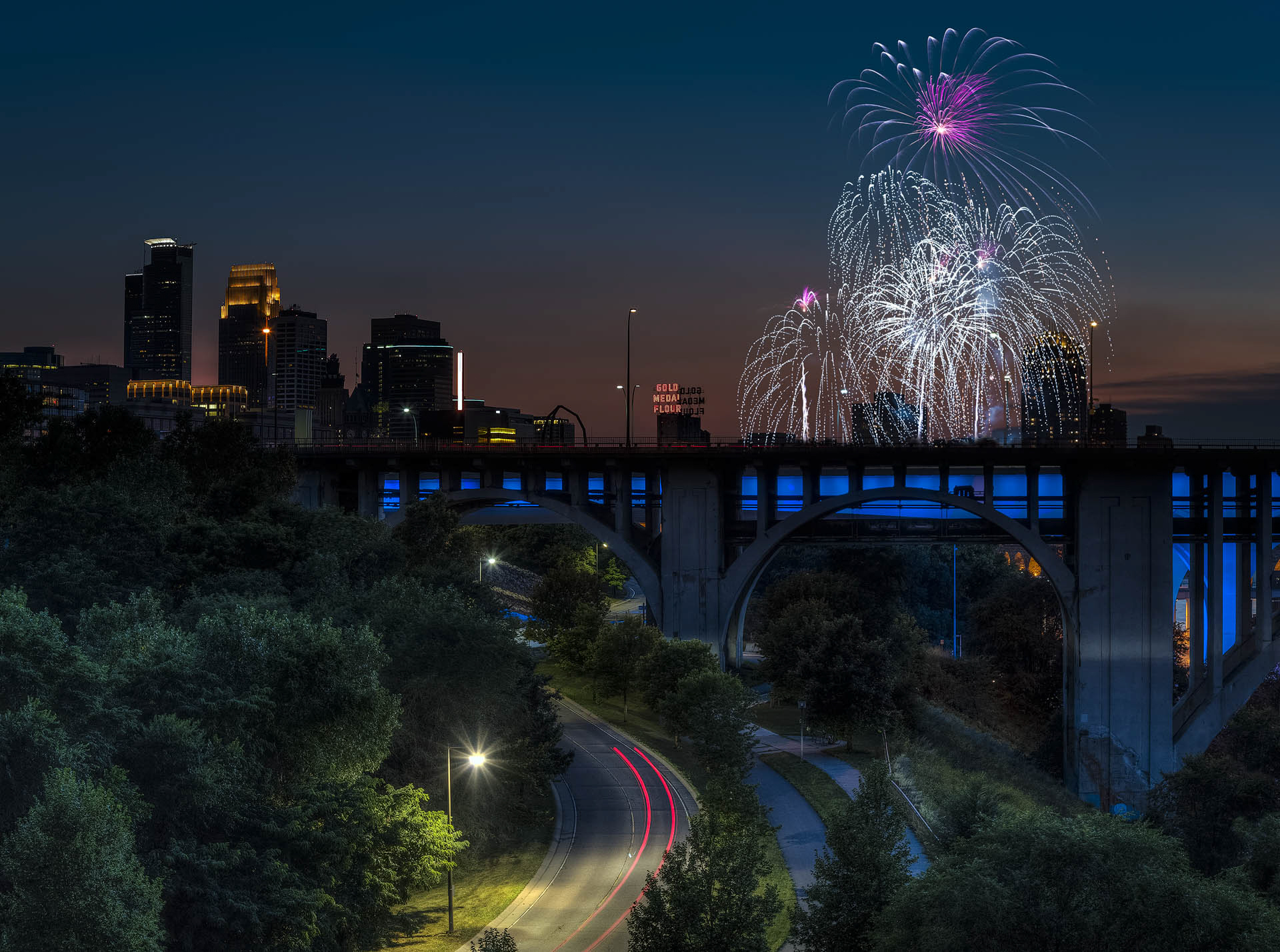 Car Trails and Fireworks - Digital (Artificial Light) - Name Withheld Per Request