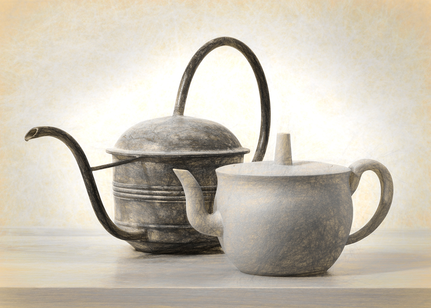 Watering Can and Tea Pot - Digital (Artificial Light) - Peggy Boike
