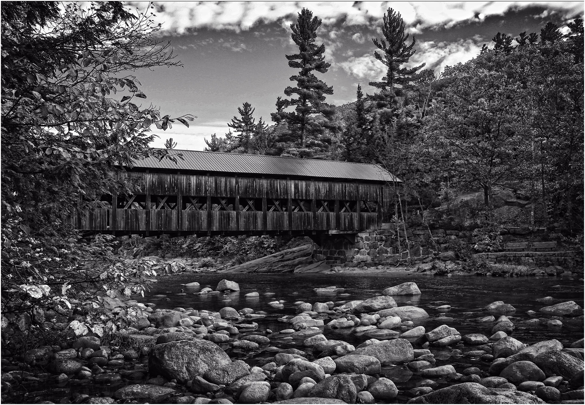 New England Covered Bridge - Monochrome Print (Open) - Name Withheld Per Request