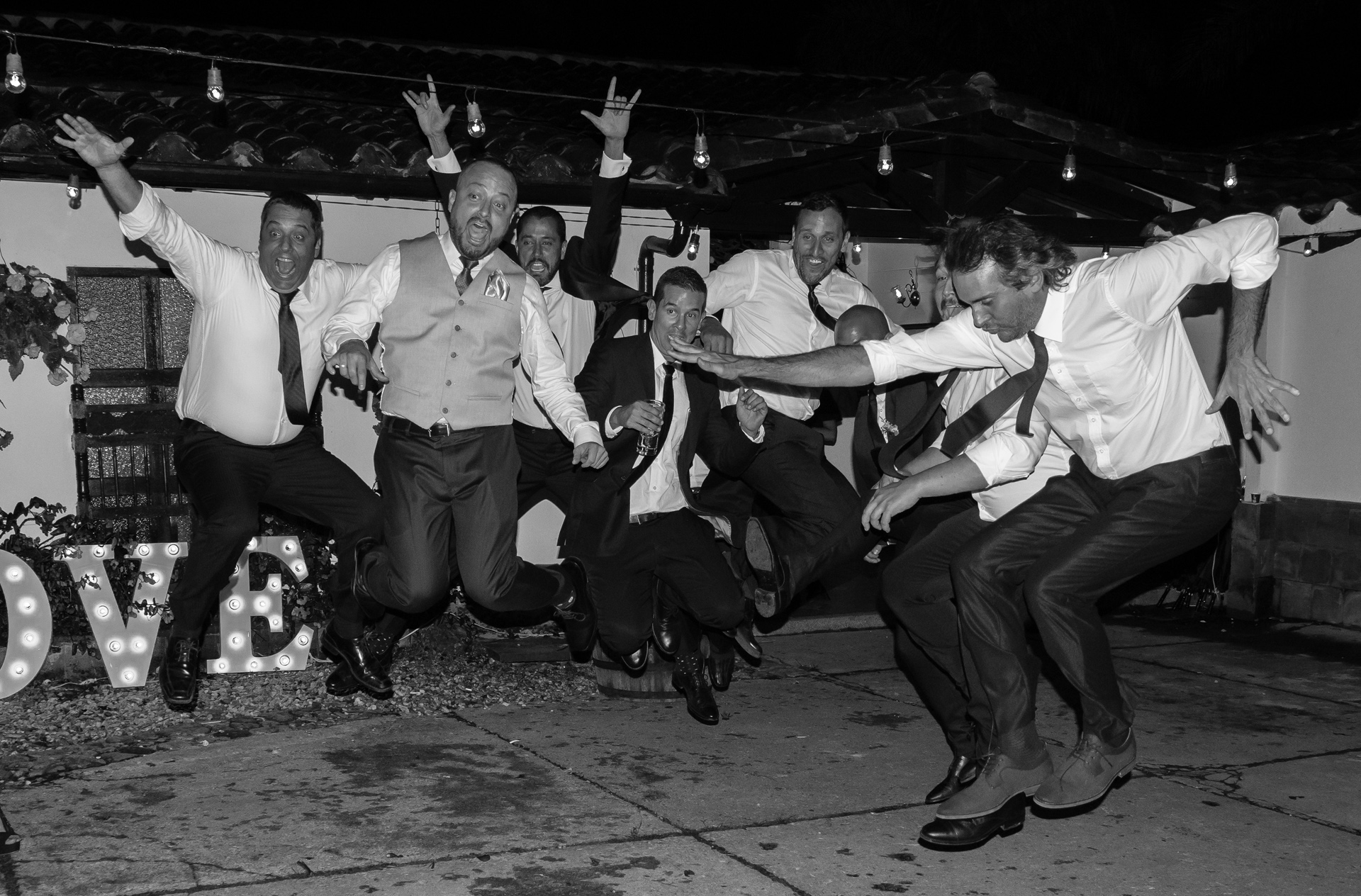 The Groomsmen Celebrate - Monochrome Print (Open) - Bob Muschewske