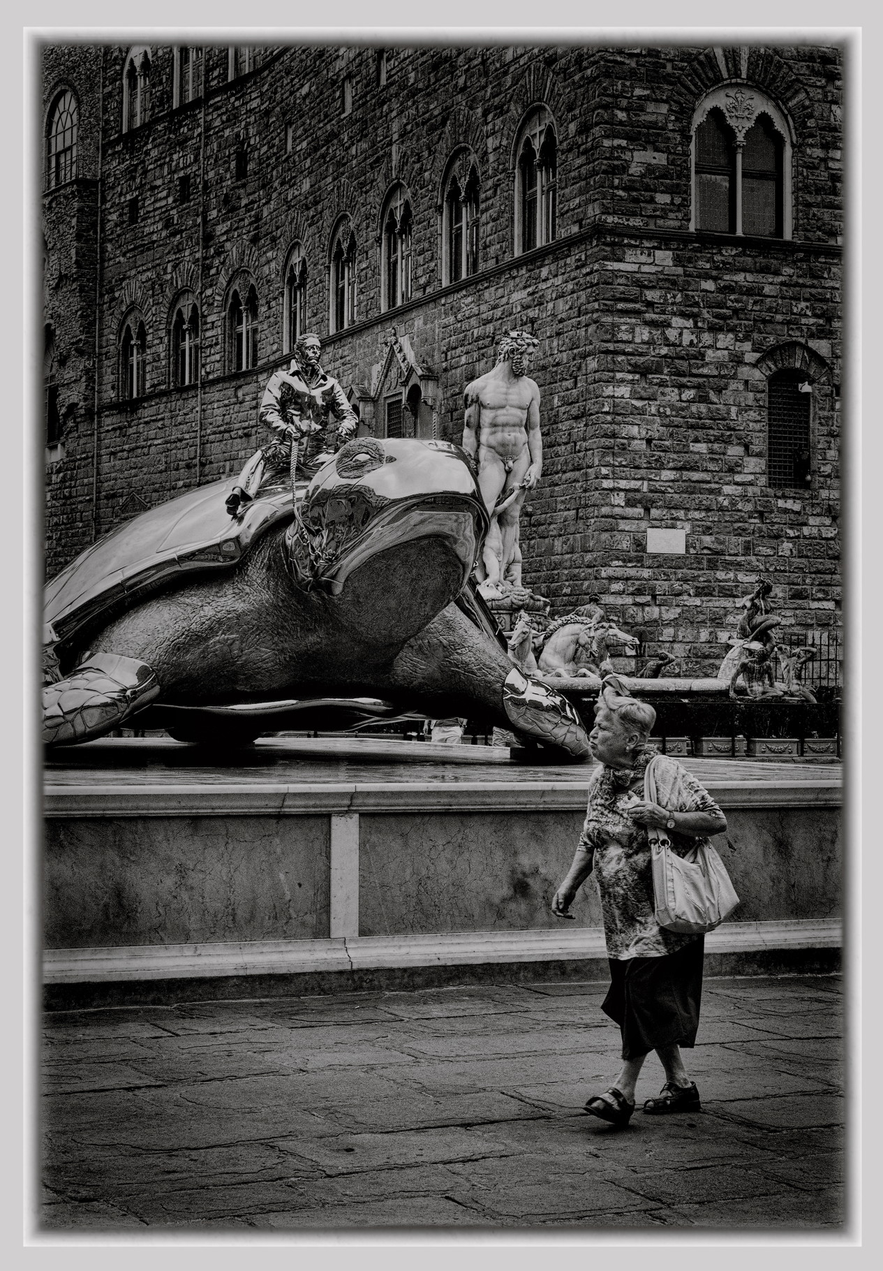 Woman and the Turtle Rider - Monochrome Print (Open) - Name Withheld Per Request