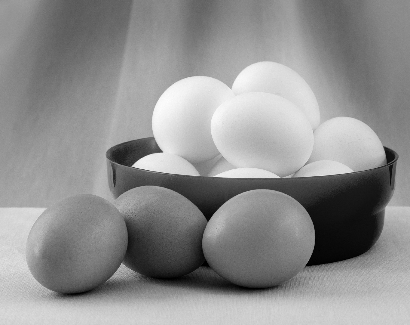 Brown and White Eggs - Monochrome Print (Open) - Peggy Boike